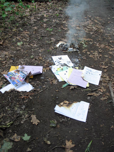Finding burning papers on a nature walk