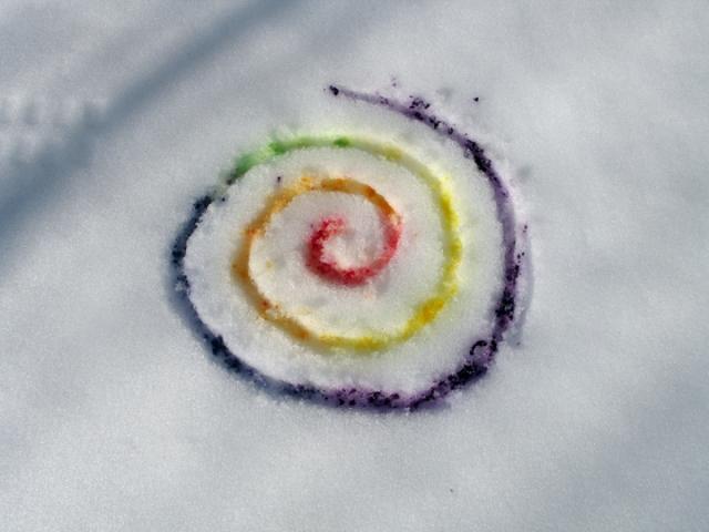 swirl snow painting