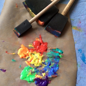 tempera paint and sponge brushes