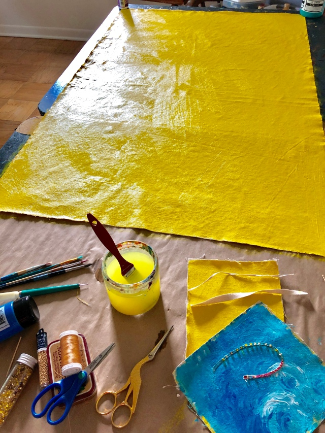 Weathered Art - Yellow base layer is down!