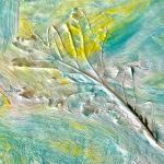 Weathered Art, painted leaf on canvas-1