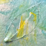 Weathered Art, painted leaf on canvas-2