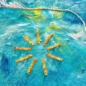 Weathered Art Project, canvas sun three